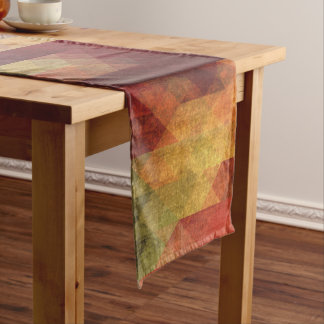 Retro Geometric Bold Stripes Worn Colors Long Table Runner