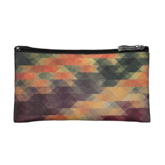 Retro Geometric Bold Stripes Worn Colors Makeup Bag