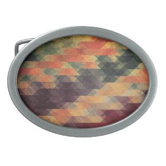 Retro Geometric Bold Stripes Worn Colors Oval Belt Buckle