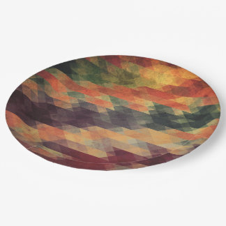Retro Geometric Bold Stripes Worn Colors Paper Plate