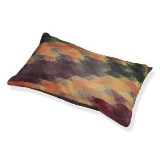 Retro Geometric Bold Stripes Worn Colors Pet Bed