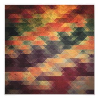 Retro Geometric Bold Stripes Worn Colors Photo Print