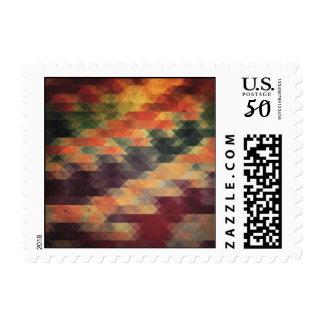 Retro Geometric Bold Stripes Worn Colors Postage