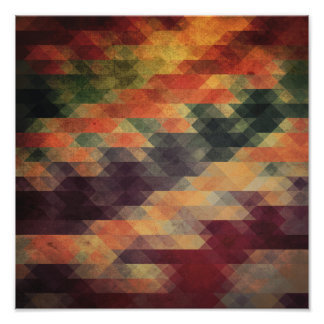 Retro Geometric Bold Stripes Worn Colors Poster