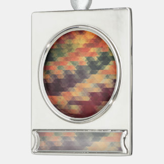 Retro Geometric Bold Stripes Worn Colors Silver Plated Banner Ornament