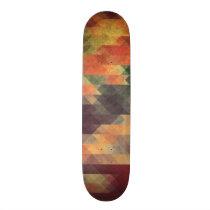 Retro Geometric Bold Stripes Worn Colors Skateboard Deck