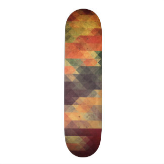 Retro Geometric Bold Stripes Worn Colors Skateboard Deck
