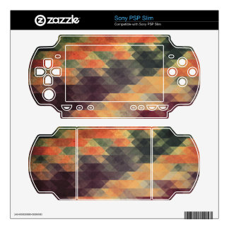 Retro Geometric Bold Stripes Worn Colors Decal For The PSP Slim