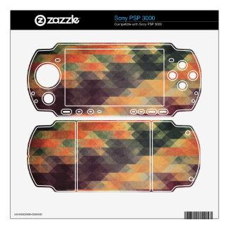 Retro Geometric Bold Stripes Worn Colors Sony PSP 3000 Skin