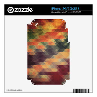 Retro Geometric Bold Stripes Worn Colors Decals For iPhone 3