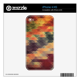 Retro Geometric Bold Stripes Worn Colors Skins For iPhone 4