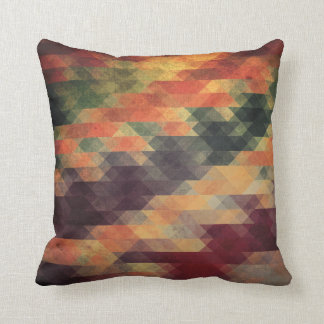 Retro Geometric Bold Stripes Worn Colors Throw Pillow
