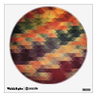 Retro Geometric Bold Stripes Worn Colors Wall Decal