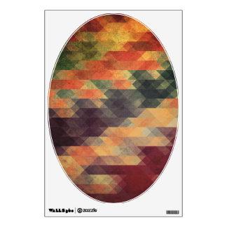 Retro Geometric Bold Stripes Worn Colors Wall Sticker