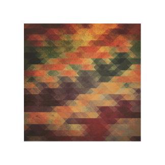 Retro Geometric Bold Stripes Worn Colors Wood Print