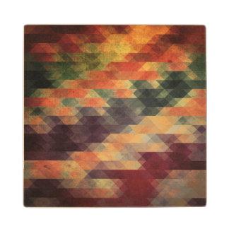 Retro Geometric Bold Stripes Worn Colors Wooden Coaster