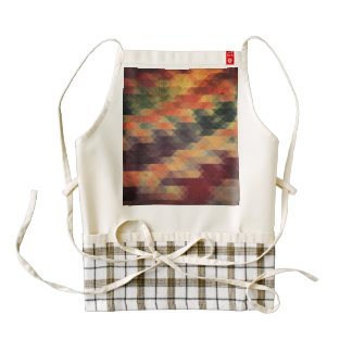 Retro Geometric Bold Stripes Worn Colors Zazzle HEART Apron