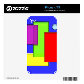 Retro Geometric Bricks Modern Art Electronics Skin Skin For The iPhone 4