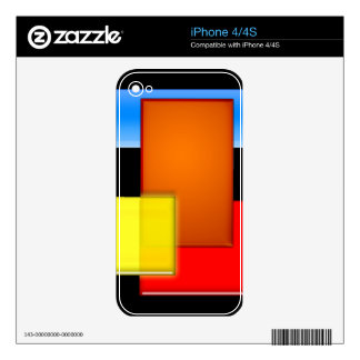 Retro Geometric Bricks Modern Art Electronics Skin Skins For The iPhone 4S