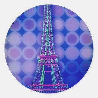 Retro Geometric circles purple paris eiffel tower Classic Round Sticker