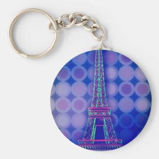 Retro Geometric circles purple paris eiffel tower Keychain