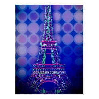 Retro Geometric circles purple paris eiffel tower Postcard