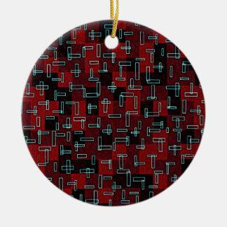 Retro Geometric Design Red Black Aqua Blue Ceramic Ornament
