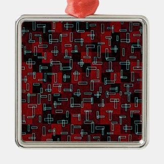 Retro Geometric Design Red Black Aqua Blue Christmas Ornaments