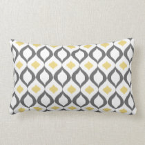 Retro Geometric Ikat Yellow Gray Pattern Lumbar Pillow