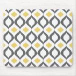 Retro Geometric Ikat Yellow Gray Pattern Mouse Pad