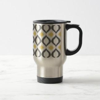 Retro Geometric Ikat Yellow Gray Pattern Coffee Mugs