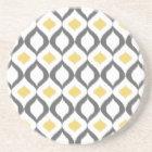 Retro Geometric Ikat Yellow Gray Pattern Sandstone Coaster