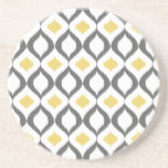 "Retro Geometric Ikat Yellow Gray Pattern Sandstone Coaster<br><div class=""desc"">Retro inspired geometric shape ikat ogee pattern in grey,  white and yellow.  A cool designer stylish modern pattern that combines geometry and a traditional tribal textile texture.</div>"