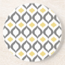 Retro Geometric Ikat Yellow Gray Pattern Sandstone Coaster