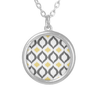 Retro Geometric Ikat Yellow Gray Pattern Silver Plated Necklace