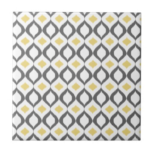 Retro Geometric Ikat Yellow Gray Pattern Tile