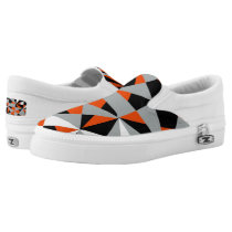 Retro Geometric Orange Mix Funky Design Slip-On Sneakers