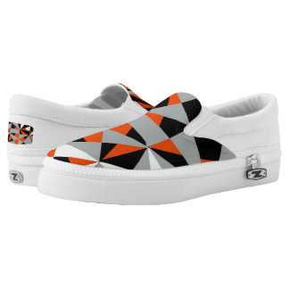 Retro Geometric Orange Mix Funky Design Slip-On Sneakers