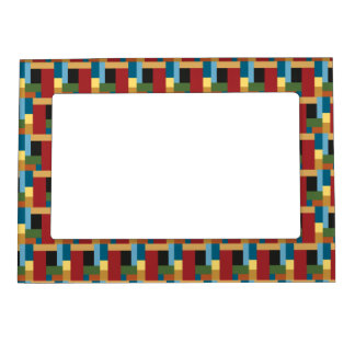 Retro Geometric Pattern Elegant Italian Colors Photo Frame Magnet