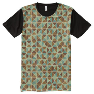 Retro geometric pattern All-Over print t-shirt