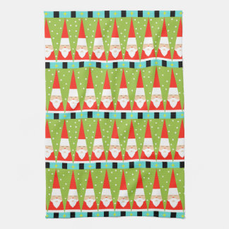 Retro Geometric Santa Kitchen Towel