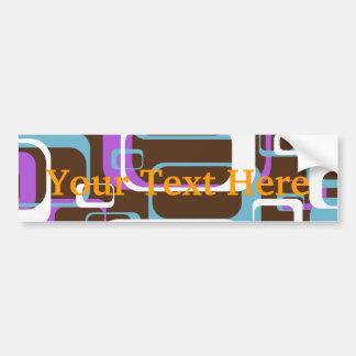 Retro Geometric Squares Brown Purple Blue Bumper Sticker