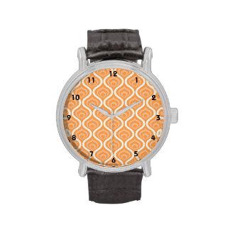 Retro geométrico del naranja y blanco reloj