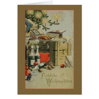 Retro German Fröhliche Weihnachten Christmas Card