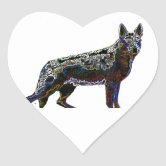 Retro German Shepherd Heart Sticker