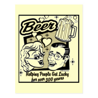 Retro Get Lucky Beer Card (New & Improved!) Postcard