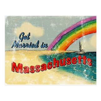 Retro Get Married in Massachusetts Post Cards