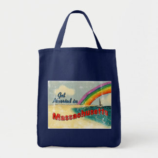 Retro Get Married in Massachusetts Tote Bag