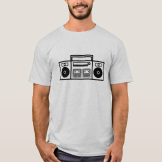 Retro Ghetto Blaster Stereo Music Tshirt - White