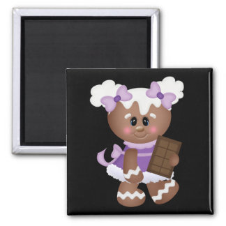 Retro Gingerbread Girl with Chocolate Refrigerator Magnet